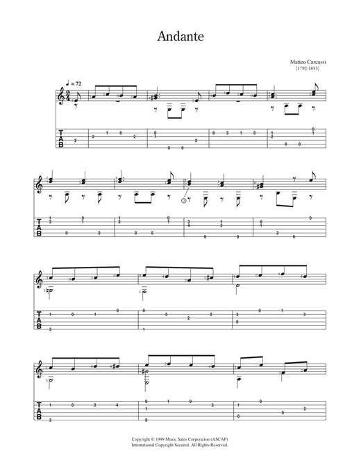 Matteo Carcassi Andante sheet music notes and chords