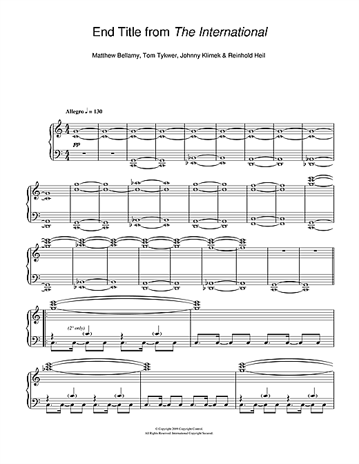 Matthew Bellamy End Title (from The International) sheet music notes and chords. Download Printable PDF.