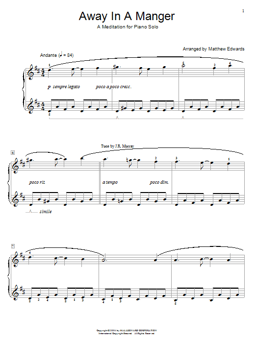 Matthew Edwards Away In A Manger - A Meditation For Piano Solo sheet music notes and chords. Download Printable PDF.
