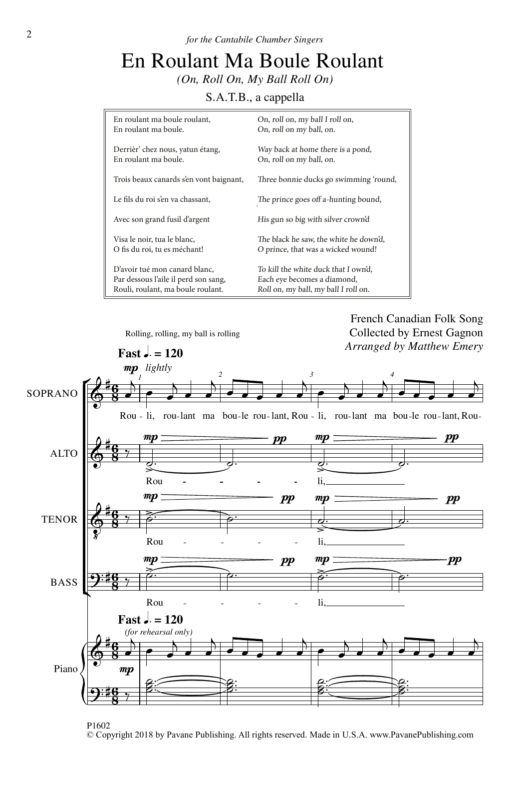 Matthew Emery En Roulant Ma Boule Roulant sheet music notes and chords. Download Printable PDF.