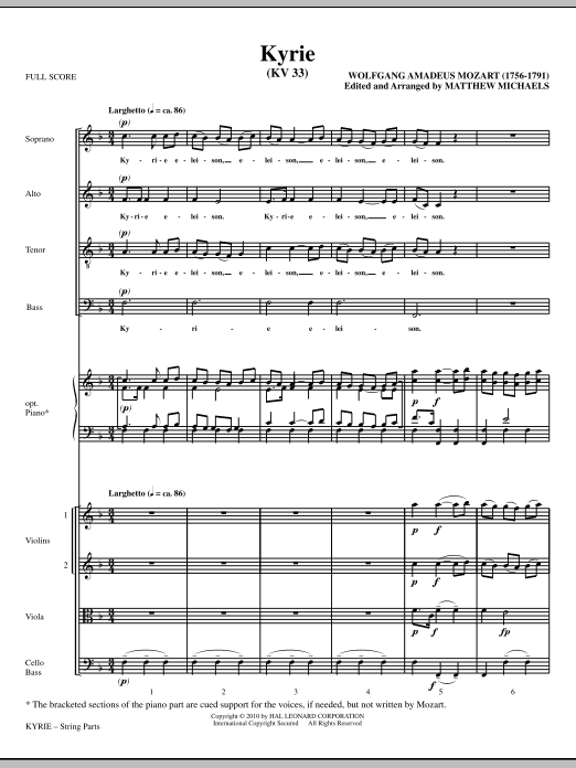 Matthew Michaels Kyrie (KV33) - Full Score sheet music notes and chords. Download Printable PDF.