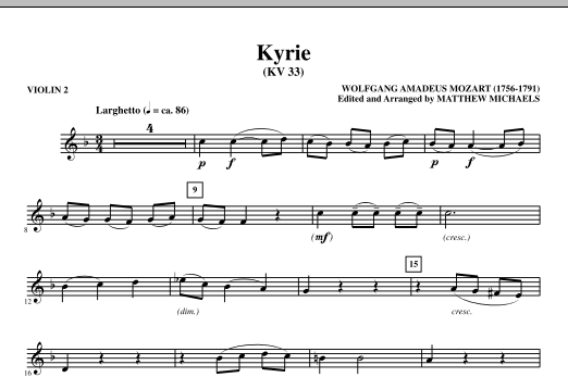 Matthew Michaels Kyrie (KV33) - Violin 2 sheet music notes and chords. Download Printable PDF.
