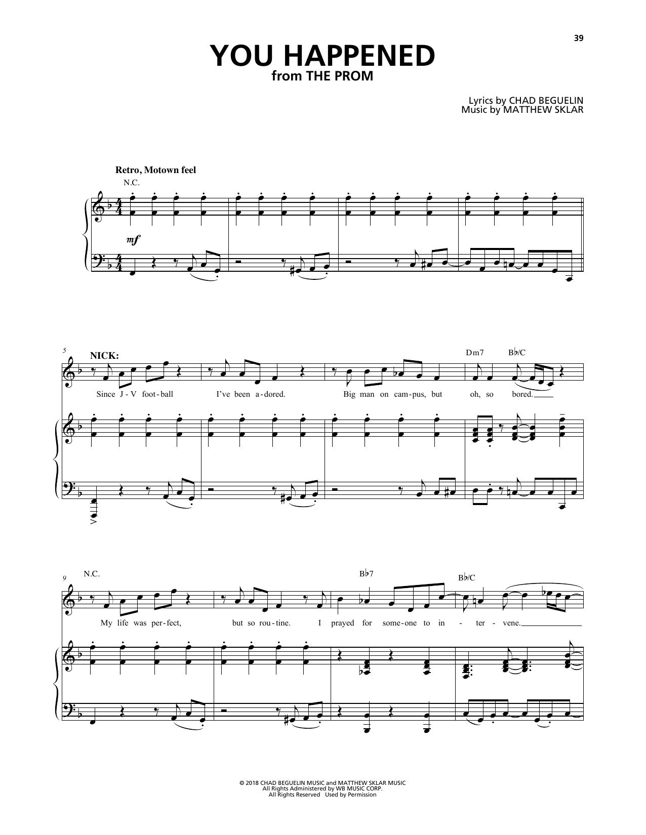Matthew Sklar & Chad Beguelin You Happened (from The Prom: A New Musical) sheet music notes and chords. Download Printable PDF.