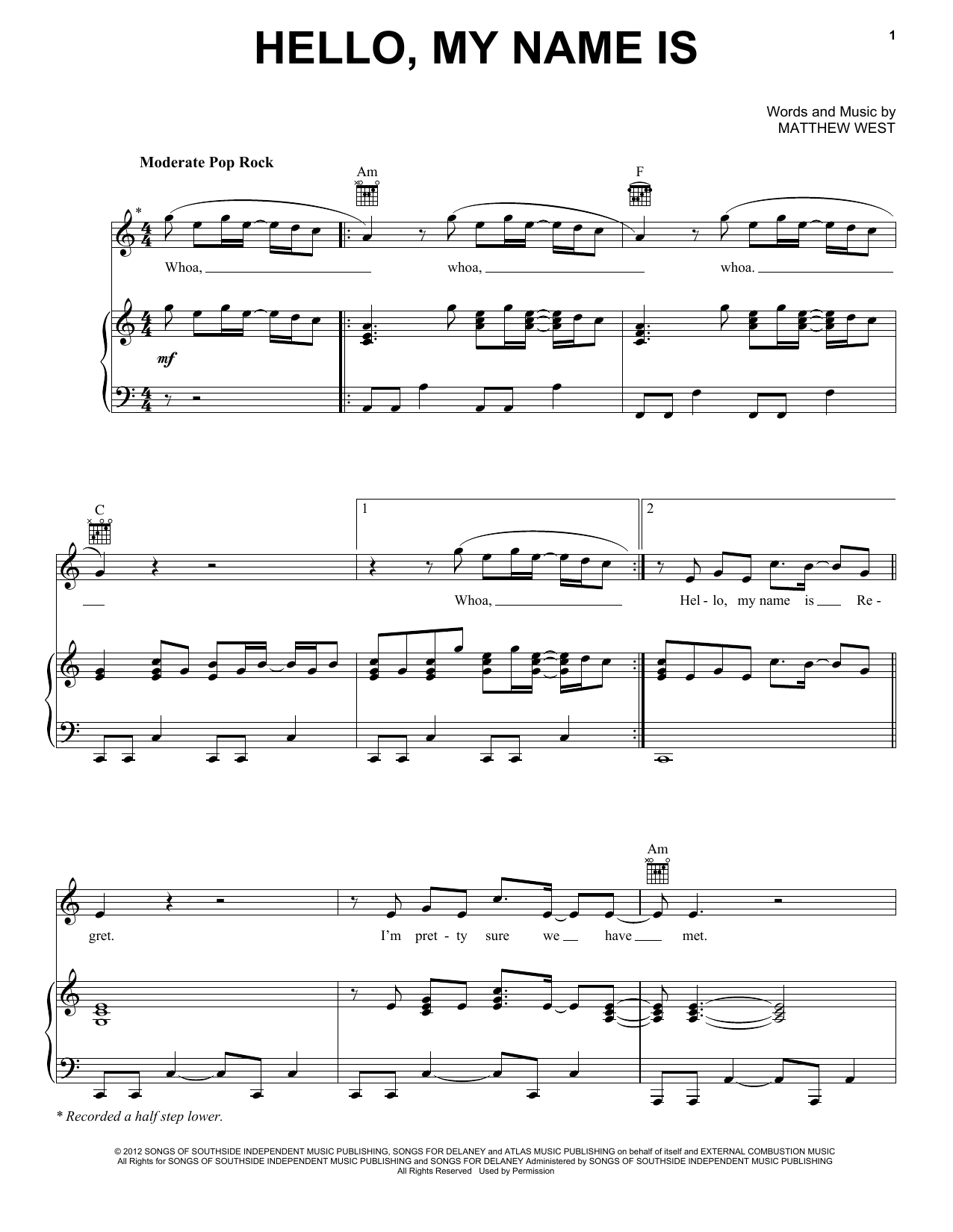 Matthew West Hello, My Name Is sheet music notes and chords. Download Printable PDF.