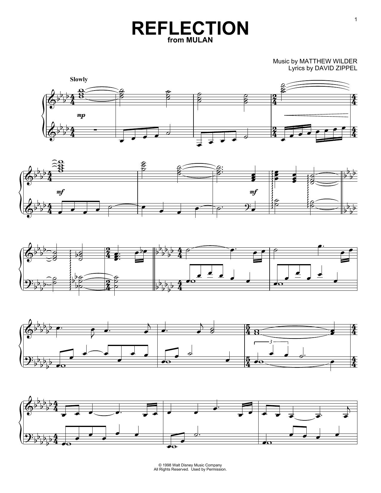 Matthew Wilder Reflection (from Mulan) sheet music notes and chords