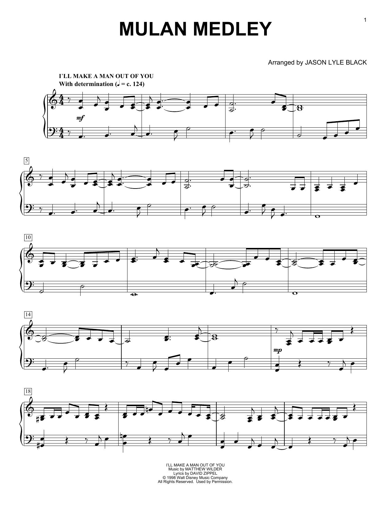 Matthew Wilder & David Zippel Mulan Medley (arr. Jason Lyle Black) sheet music notes and chords. Download Printable PDF.