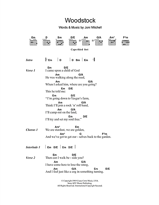 Matthews Southern Comfort Woodstock sheet music notes and chords. Download Printable PDF.