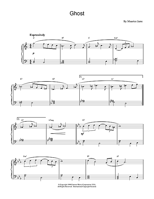 Maurice Jarre Ghost (Theme) sheet music notes and chords. Download Printable PDF.