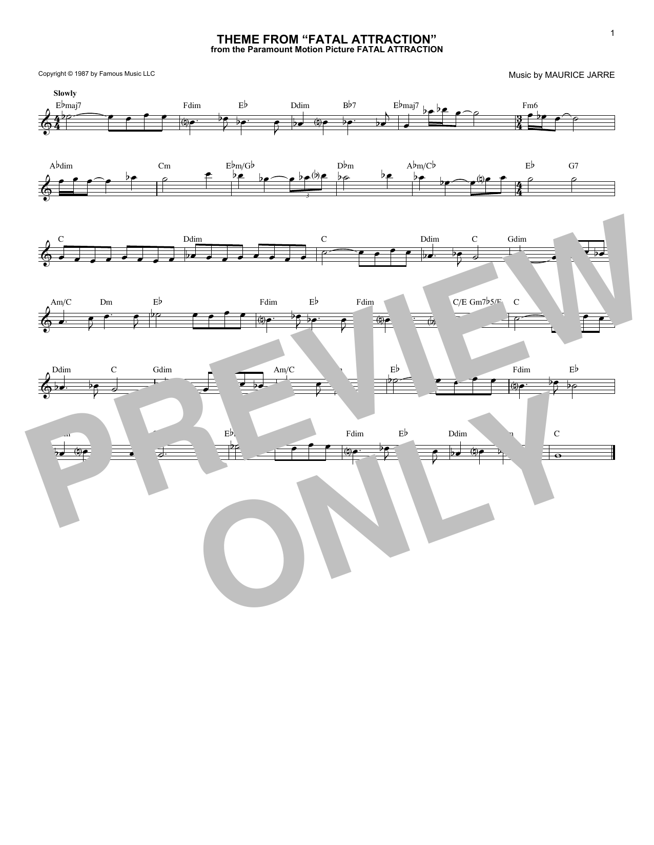 Maurice Jarre Theme From Fatal Attraction sheet music notes and chords. Download Printable PDF.