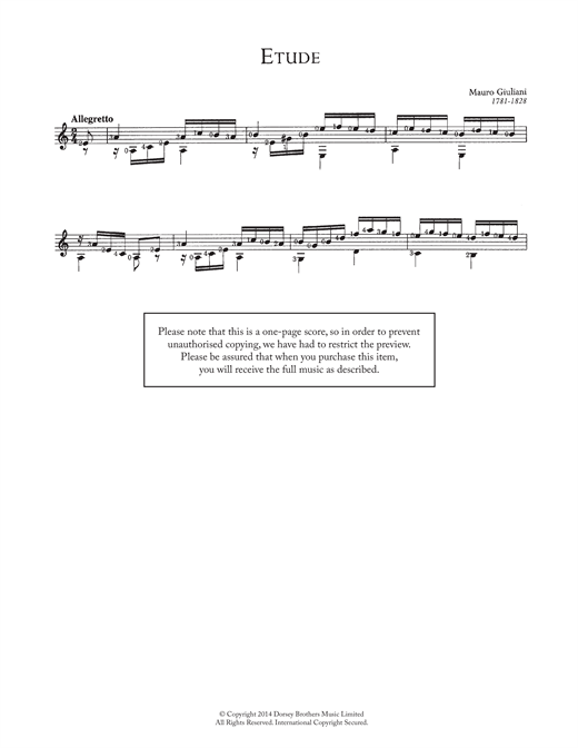 Mauro Giuliani Etude sheet music notes and chords