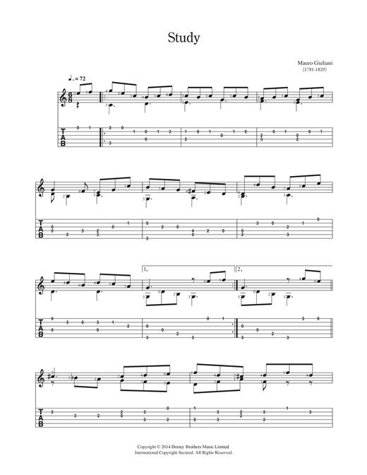 Mauro Giuliani Study sheet music notes and chords