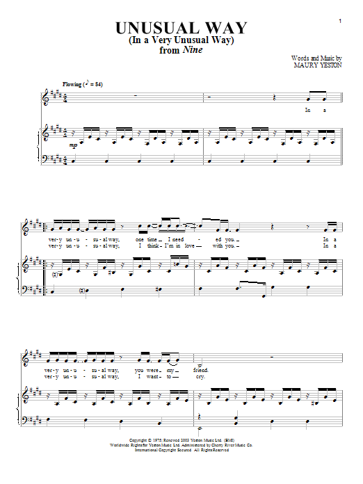 Maury Yeston Unusual Way sheet music notes and chords. Download Printable PDF.