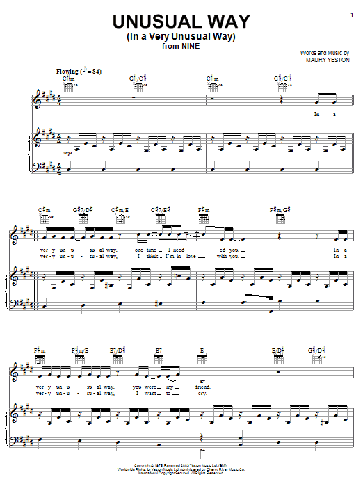 Maury Yeston Unusual Way (In A Very Unusual Way) sheet music notes and chords. Download Printable PDF.