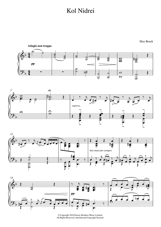 Max Bruch Kol Nidrei, Op. 47 sheet music notes and chords. Download Printable PDF.