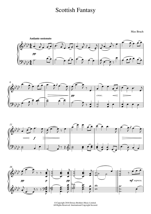 Max Bruch Scottish Fantasy, Op. 46 sheet music notes and chords. Download Printable PDF.
