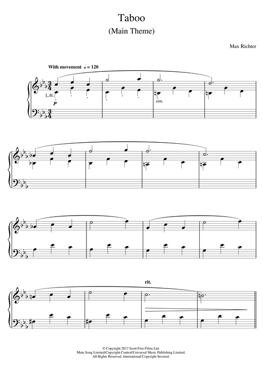Max Richter Taboo (Main Theme) sheet music notes and chords. Download Printable PDF.
