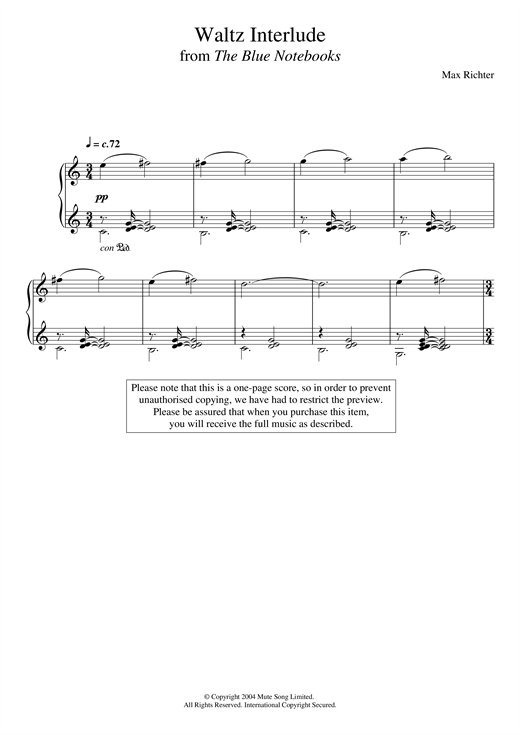 Max Richter The Blue Notebooks sheet music notes and chords. Download Printable PDF.