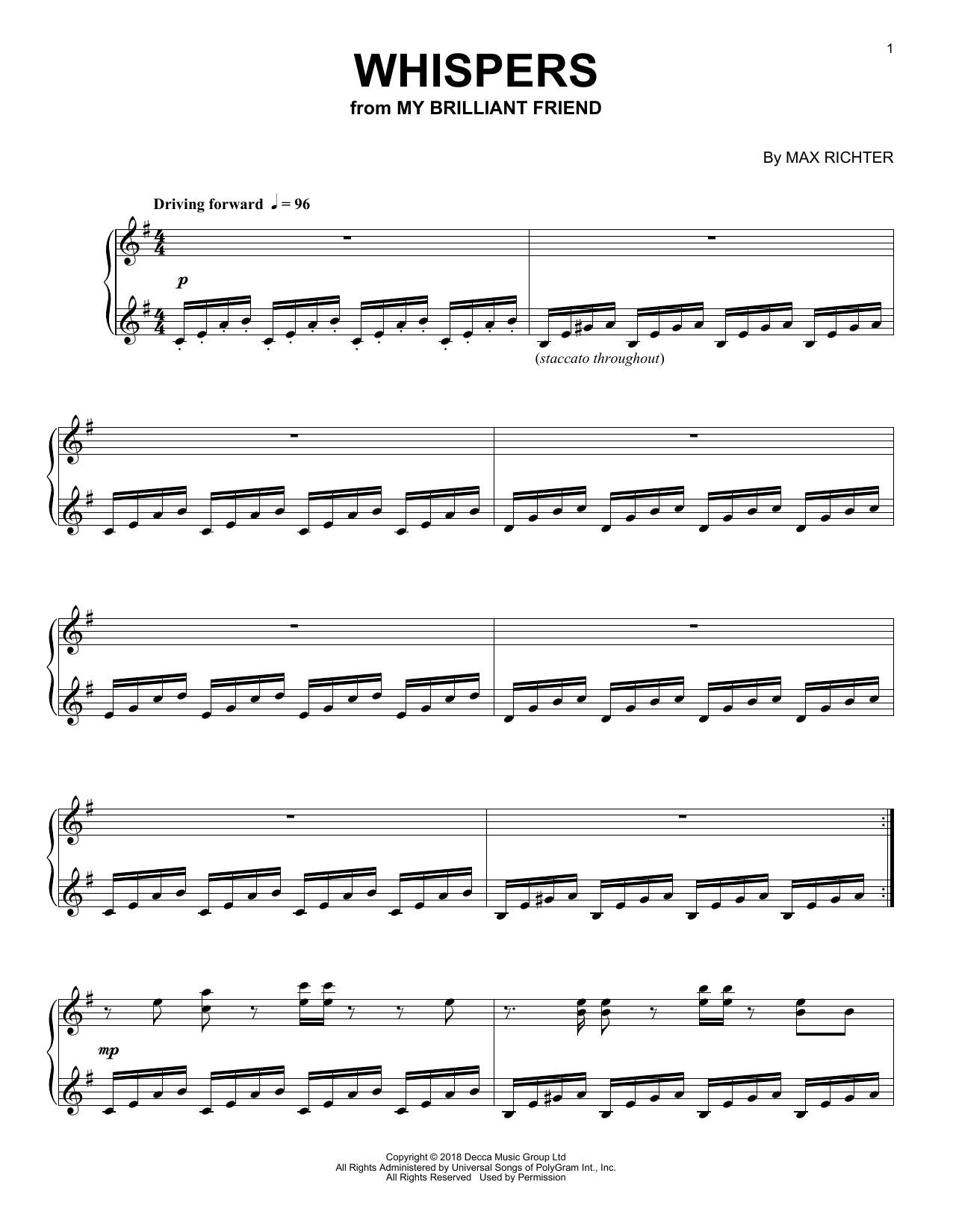 Max Richter Whispers (from My Brilliant Friend) sheet music notes and chords. Download Printable PDF.