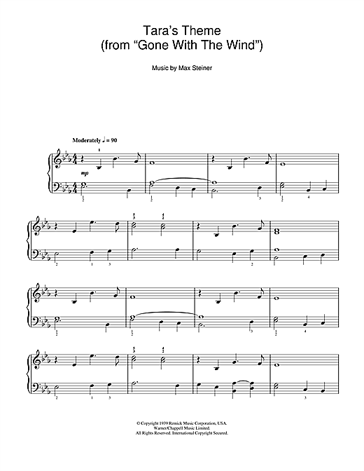 Max Steiner Tara Theme (from 'Gone With The Wind') sheet music notes and chords. Download Printable PDF.
