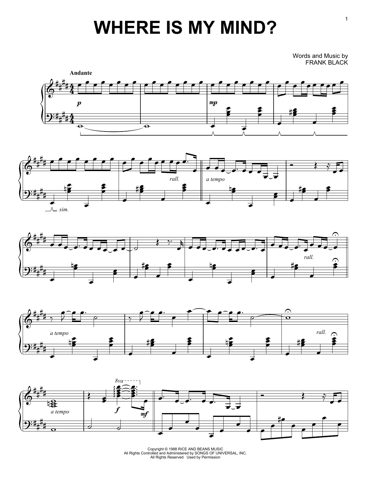 The Pixies Where Is My Mind Sheet Music Notes, Chords   Download Printable  Piano Solo PDF Score   SKU 15