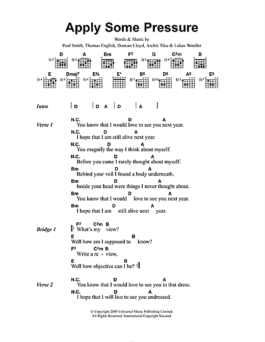 Maximo Park Apply Some Pressure sheet music notes and chords. Download Printable PDF.