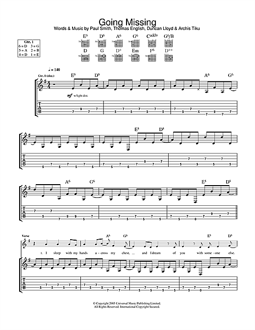 Maximo Park Going Missing sheet music notes and chords. Download Printable PDF.