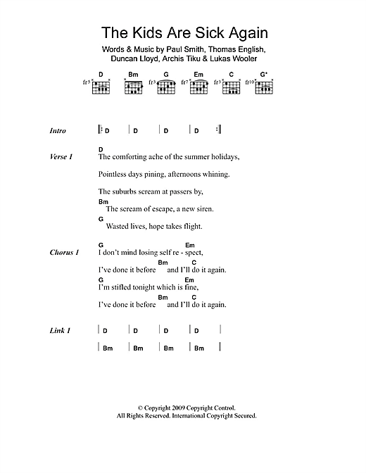Maximo Park The Kids Are Sick Again sheet music notes and chords. Download Printable PDF.