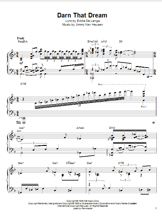 McCoy Tyner Darn That Dream sheet music notes and chords