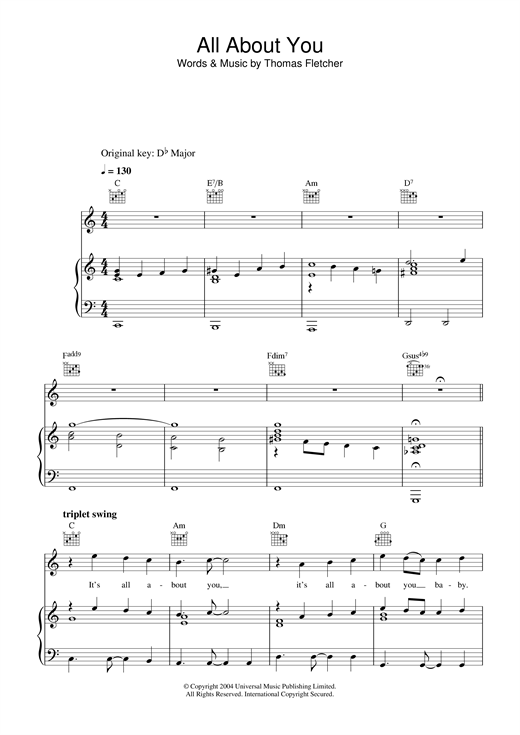 McFly All About You sheet music notes and chords