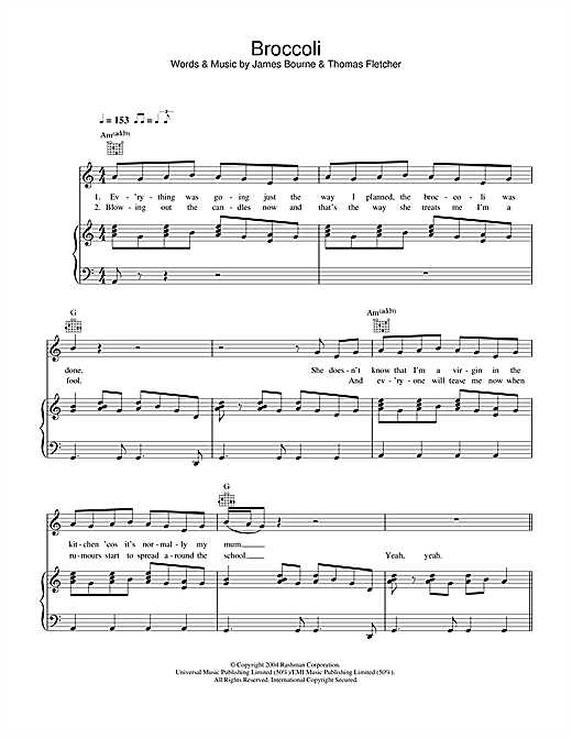 McFly Broccoli sheet music notes and chords. Download Printable PDF.