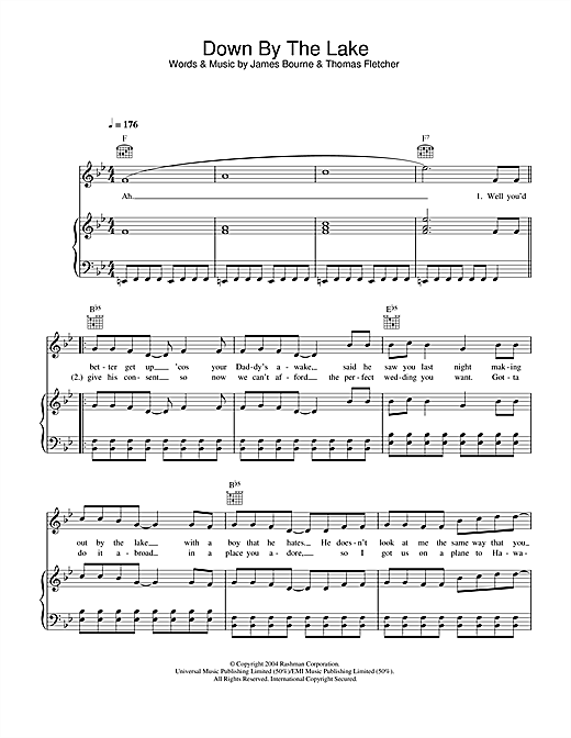 McFly Down By The Lake sheet music notes and chords. Download Printable PDF.