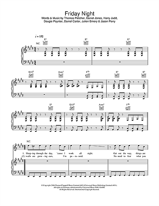 McFly Friday Night sheet music notes and chords. Download Printable PDF.