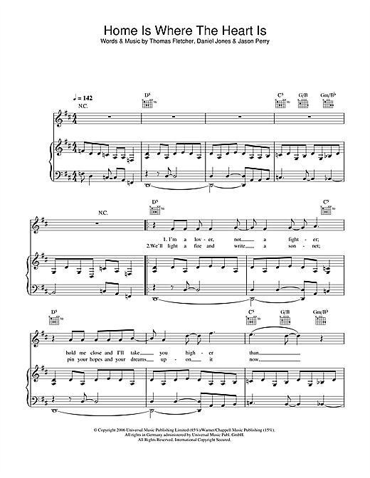 McFly Home Is Where The Heart Is sheet music notes and chords. Download Printable PDF.
