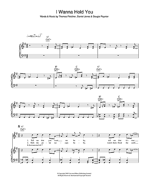 McFly I Wanna Hold You sheet music notes and chords. Download Printable PDF.