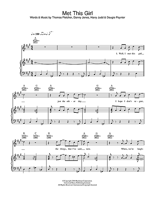 McFly Met This Girl sheet music notes and chords. Download Printable PDF.