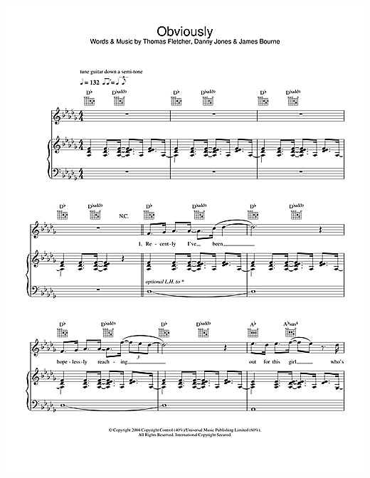 McFly Obviously sheet music notes and chords. Download Printable PDF.