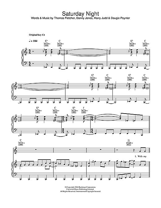 McFly Saturday Night sheet music notes and chords