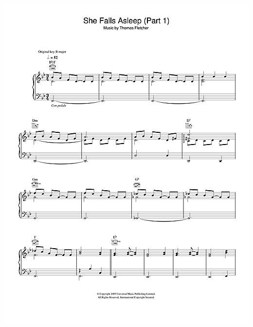 McFly She Falls Asleep Part 1 sheet music notes and chords