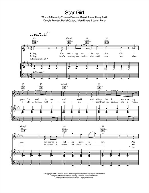 McFly Star Girl sheet music notes and chords. Download Printable PDF.