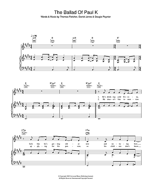 McFly The Ballad Of Paul K sheet music notes and chords. Download Printable PDF.