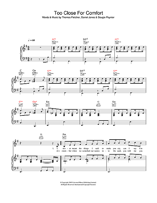 McFly Too Close For Comfort sheet music notes and chords. Download Printable PDF.