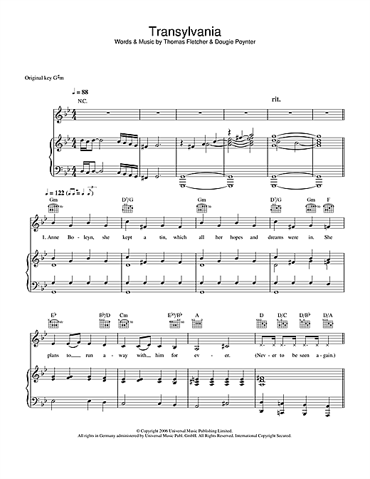 McFly Transylvania sheet music notes and chords. Download Printable PDF.