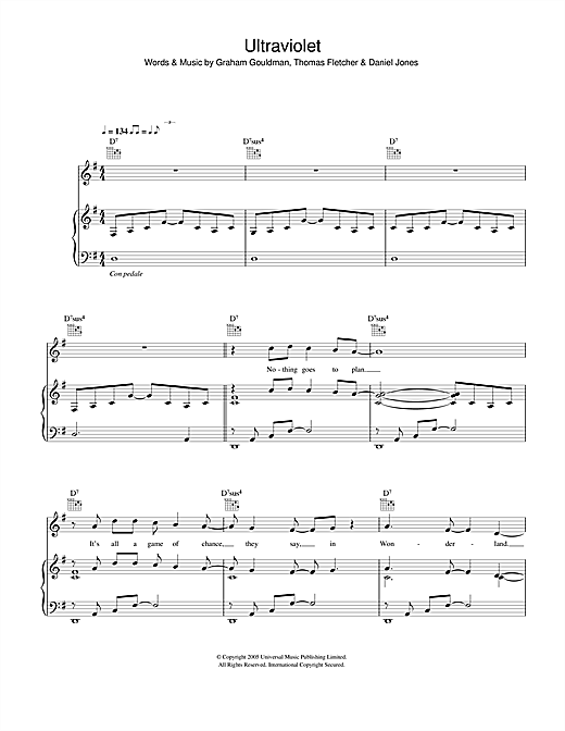 McFly Ultraviolet sheet music notes and chords. Download Printable PDF.