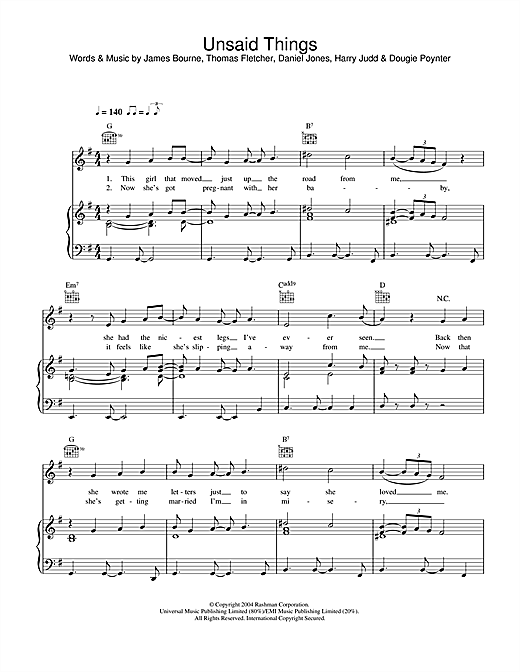 McFly Unsaid Things sheet music notes and chords