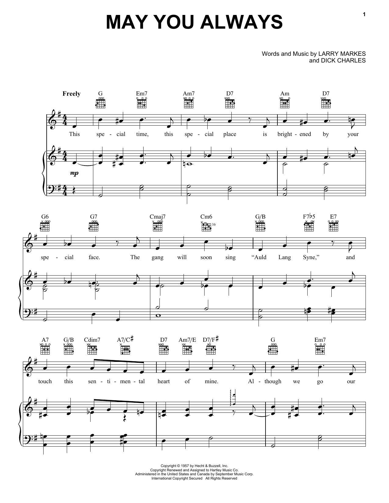 McGuire Sisters May You Always sheet music notes and chords. Download Printable PDF.
