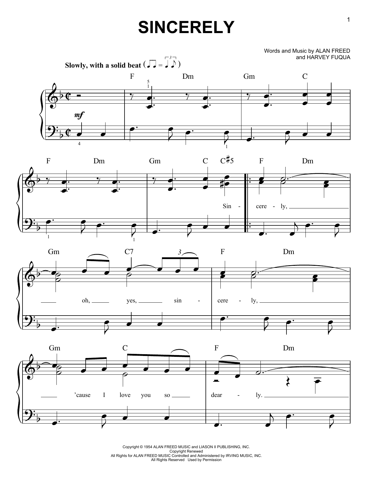 McGuire Sisters Sincerely sheet music notes and chords. Download Printable PDF.