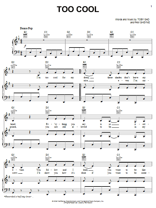 Meaghan Martin Too Cool sheet music notes and chords. Download Printable PDF.