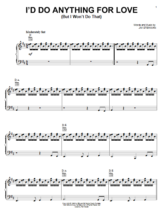 Meat Loaf I'd Do Anything For Love (But I Won't Do That) sheet music notes and chords