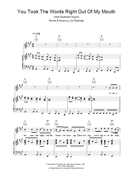 Meat Loaf You Took The Words Right Out Of My Mouth (Hot Summer Night) sheet music notes and chords. Download Printable PDF.