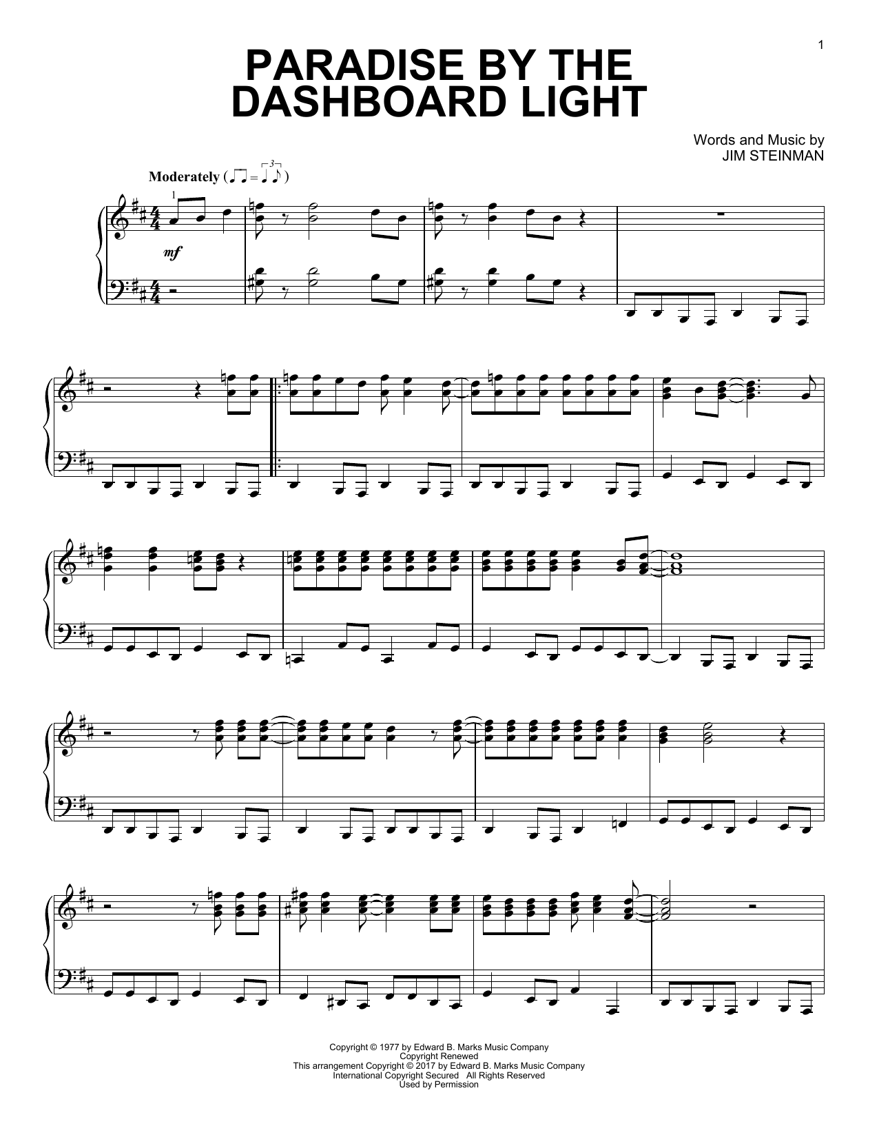 Meat Loaf Paradise By The Dashboard Light sheet music notes and chords. Download Printable PDF.